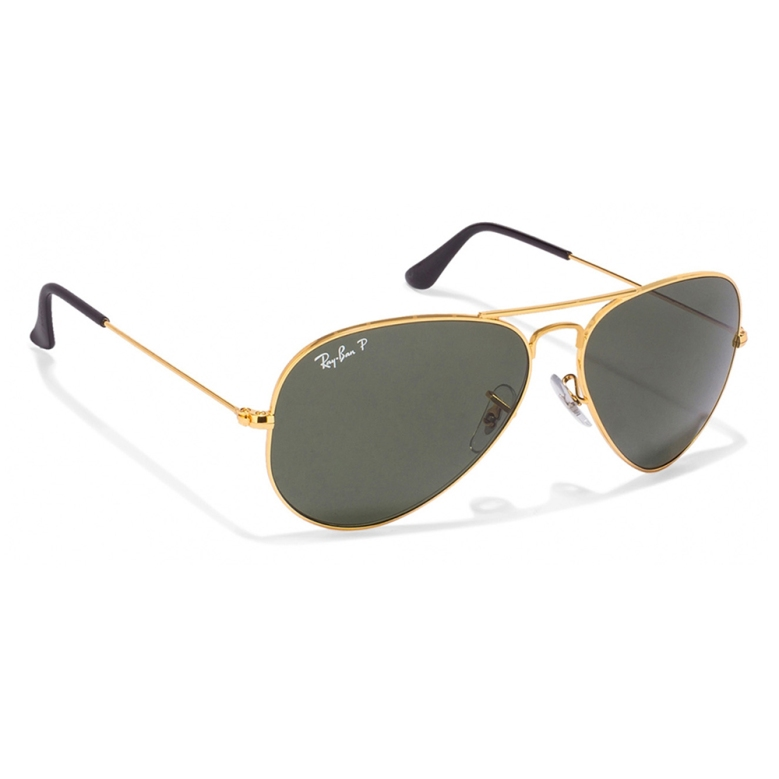 Ray Ban Golden Natural Green Aviator Polarized Sunglasses
